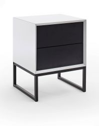 Nachttisch Kasan weiß und schwarz matt lackiert Nachtkommode in Komforthöhe mit 2 x Schubkasten 45 x 57 cm