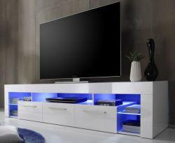 Wohnzimmer: TV-Lowboard Score Hochglanz weiß (200 x 44 cm) inkl. LED-Beleuchtung