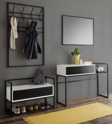 Garderobe Set 4-teilig Kasan in weiß und schwarz matt lackiert Garderobenkombination 220 x 190 cm