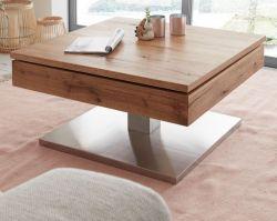 Couchtisch Monrovia in Asteiche / Eiche Beistelltisch mit drehbarer Tischplatte und Edelstahl 75 x 75 cm