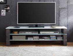 TV-Lowboard Olivia in Beton Design grau und Glas weiß TV Board 160 x 40 cm