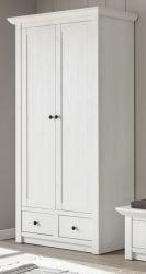 Garderobenschrank Hooge in Pinie weiß Landhaus Garderobe oder großer Schuhschrank 105 x 206 cm