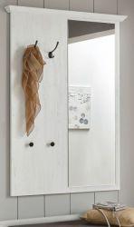 Garderobenpaneel Hooge in Pinie weiß Landhaus Wandgarderobe mit Spiegel 105 x 140 cm