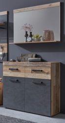 Garderobenset Tailor in Matera grau und Shabby Used Wood hell Set 2-tlg. mit Schuhschrank und Spiegel Pale Wood