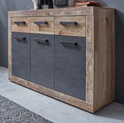 Kommode Tailor in Matera grau und Shabby Used Wood hell Sideboard 117 x 86 cm Pale Wood