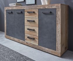 Kommode Tailor in Matera grau und Shabby Used Wood hell Sideboard 151 x 86 cm Pale Wood