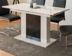 Esstisch Brügge in Hochglanz weiß und Marmor - Optik ausziehbar mit Einlegeplatte 140 / 180 x 80 cm