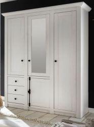 Kleiderschrank Hooge in Pinie weiß Landhaus Drehtürenschrank 4-türig mit Spiegel 147 x 206 cm