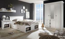 Schlafzimmer komplett Hooge in Pinie weiß Landhaus Komplettzimmer mit Bett, Kleiderschrank und Nachttisch