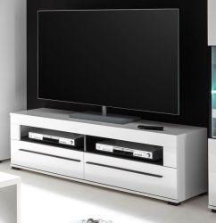 TV-Lowboard Design-D in Hochglanz weiß TV-Unterteil 140 x 47 cm