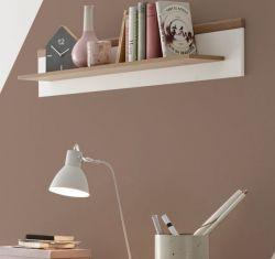 Wandboard Helge in weiß und Eiche Riviera Wandregal skandinavisch 107 x 20 cm Bücherregal