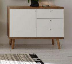 Sideboard Helge in weiß und Eiche Riviera Kommode skandinavisch 107 x 83 cm