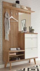 Garderobe Helge in weiß und Eiche Riviera Kompaktgarderobe skandinavisch 110 x 200 cm