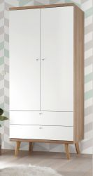 Kleiderschrank Helge in weiß und Eiche Riviera Drehtürenschrank 2-türig skandinavisch 80 x 197 cm