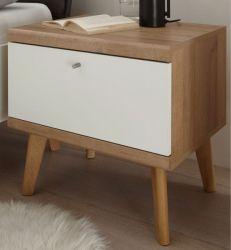 Nachttisch Helge in weiß und Eiche Riviera Nachtkommode skandinavisch 54 x 50 cm
