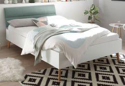 Bett Helge in weiß und Eiche Riviera Einzelbett skandinavisch mit Polsterkopfteil in mint Liegefläche 140 x 200 cm