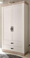 Garderobenschrank Rovola in Pinie weiß / Oslo Pinie Landhaus Garderobe oder großer Schuhschrank 107 x 201 cm