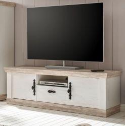 TV-Lowboard Rovola in Pinie weiß / Oslo Pinie Landhaus TV-Unterteil 156 x 51 cm
