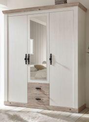 Kleiderschrank Rovola in Pinie weiß / Oslo Pinie Landhaus Drehtürenschrank 3-türig mit Spiegel 169 x 201 cm