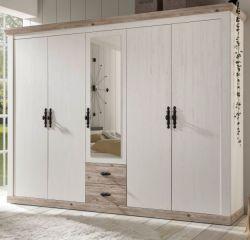 Kleiderschrank Rovola in Pinie weiß / Oslo Pinie Landhaus Drehtürenschrank 5-türig mit Spiegel 265 x 201 cm