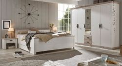 Schlafzimmer komplett Rovola in Pinie weiß / Oslo Pinie Landhaus Komplettzimmer mit Doppelbett, Kleiderschrank und 2 x Nachttisch