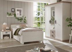 Schlafzimmer komplett Rovola in Pinie weiß / Oslo Pinie Landhaus Komplettzimmer mit Bett, Kleiderschrank und Nachttisch
