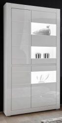 Vitrine Nobile in weiß Hochglanz und Stone Design grau Vitrinenschrank 100 x 198 cm