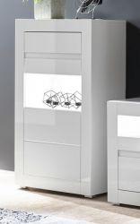 Vitrine Nobile in weiß Hochglanz und Stone Design grau Vitrinenschrank 66 x 112 cm Kommode