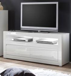 TV-Lowboard Nobile in Hochglanz weiß und Stone Design grau TV-Unterteil in Komforthöhe 150 x 63 cm