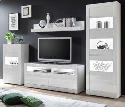 Wohnwand Nobile in Hochglanz weiß und Stone Design grau Anbauwand 4-teilig 302 x 198 cm