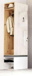 Garderobe Brighty in Artisan Eiche und weiß Set 2-tlg. mit Spiegel und Sitzhocker gepolstert 50 x 190 cm