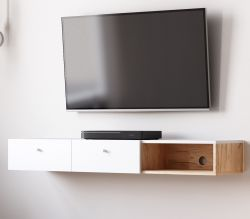 TV-Lowboard Matsdal in weiß und Artisan Eiche skandinavisch TV-Unterteil als Hängeschrank 140 cm