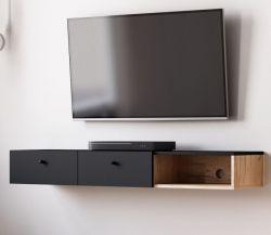 TV-Lowboard Matsdal in schwarz und Artisan Eiche skandinavisch TV-Unterteil als Hängeschrank 140 cm