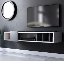 TV-Lowboard Design-T in weiß und grau TV-Unterteil hängend 150 x 25 cm