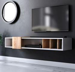 TV-Lowboard Design-T in weiß und Eiche Gold TV-Unterteil hängend 150 x 25 cm