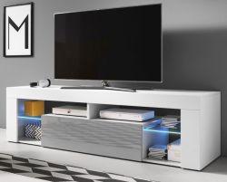 TV Lowboard Mount in grau Hochglanz und weiß 140 x 51 cm