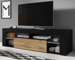 TV-Lowboard Mount in schwarz und Wotan Eiche mit LED 140 x 51 cm