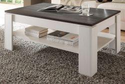 Couchtisch Universal in Anderson Pinie weiß und Touchwood braun Wohnzimmertisch mit Ablage 110 x 67 cm Beistelltisch