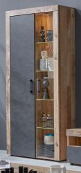 Vitrine Tailor in Matera grau und Shabby Used Wood hell Vitrinenschrank inkl. Beleuchtung 87 x 189 cm Pale Wood