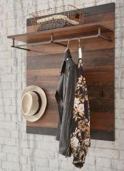 Garderobenpaneel Ward in Old Used Wood Shabby Design mit Matera grau Wandgarderobe 80 x 100 cm