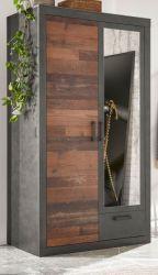 Kleiderschrank Ward in Old Used Wood Shabby Design mit Matera grau Drehtürenschrank 2-türig mit Spiegel 105 x 201 cm