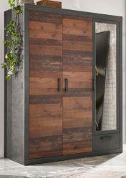 Kleiderschrank Ward in Old Used Wood Shabby Design mit Matera grau Drehtürenschrank 3-türig mit Spiegel 150 x 201 cm