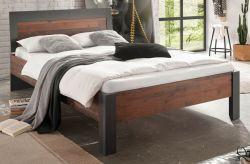 Bett Ward in Old Used Wood Shabby Design mit Matera grau Einzelbett Liegefläche 140 x 200 cm