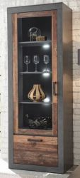Vitrine Ward in Old Used Wood Shabby Design mit Matera grau Vitrinenschrank 65 x 201 cm