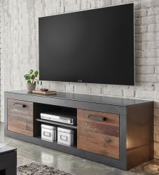 TV-Lowboard Ward in Old Used Wood Shabby Design mit Matera grau TV-Unterteil 153 x 51 cm