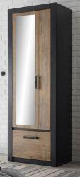 Garderobenschrank Beveren in Kastanie und Fresco grau Garderobe oder großer Schuhschrank 65 x 200 cm