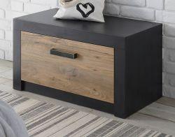 Garderobe Sitzbank Beveren in Kastanie und Fresco grau Garderobenbank und Schuhschrank 80 x 43 cm