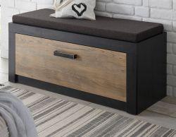 Garderobe Sitzbank Beveren in Kastanie und Fresco grau Garderobenbank und Schuhschrank 107 x 43 cm