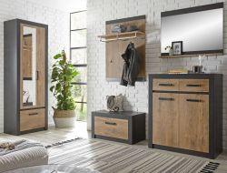 Garderobenkombination Beveren in Kastanie und Fresco grau Garderobe Set 5-teilig 277 x 200 cm