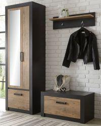Garderobenkombination Beveren in Kastanie und Fresco grau Garderobe Set 3-teilig 165 x 200 cm